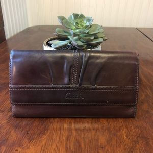 Coach Leather Wallet Brown Oiled Leather